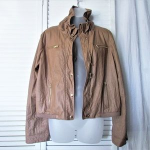 Ellen Tracy golden tan faux leather jacket M